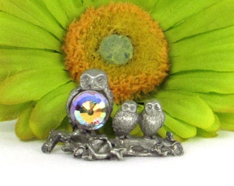 Pewter Mama and Baby Owlets Figurine with Multifacted Glass Crystal - Cute- Sparkly - Rainbow Emitting Decor