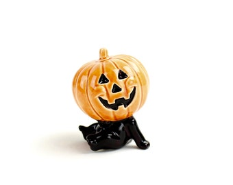 Vintage Norcrest Halloween Figurine MINT Black Cat in Costume Pumpkin Head, Ceramic Hand Painted 1950s Kitsch Halloween Collectible, Epsteam