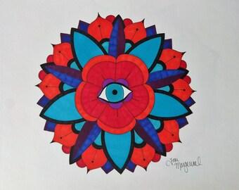 Lotus Mandala Art, Mandala Flower Art, Eyeball Mandala Art, Zentangle Drawing, Geometric Drawing, Original Mandala Art, Boho Home Decor