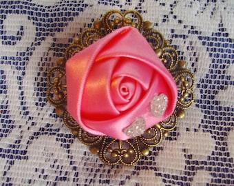 Pink Satin Rose & Filigree French Barrette - Pink Barrette - Bling Flower Barrette - Satin Rose Barrette - Gold Filigree French Barrette