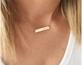 Custom Bar Necklace, Personalized Name Plate Necklace, Personalized Bar Necklace, Gold Name Necklace, Name Necklace Gold
