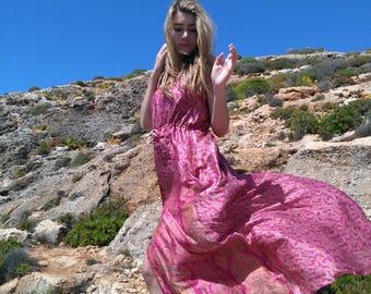 serene pink and orange silk dress/ authentic vintage indian silk dress / flower printed silk dress / boho dress / maxi dress / gipsy dress