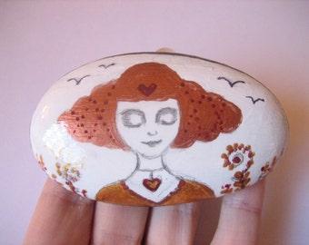 Hand painted Goddess art stone, paperweight.