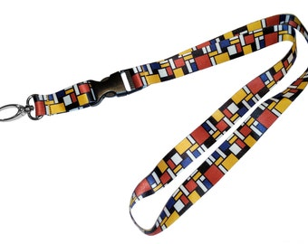 DutchArt Mondrian Premium Keychain Holder Lanyard