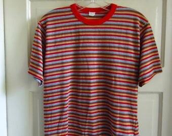 Vintage 70s STRIPED Crewneck T Shirt sz S