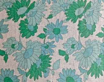 Burlap Floral Print 2 yd x 32 inches