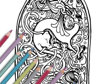 Printable Coloring Page Knotwork Griffin Instant Download