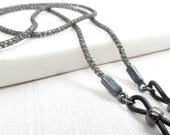 Gunmetal Black Eyeglasses Chain; Silversilk; Eyeglass Cord; Reading Glasses Necklace Holder; Glasses Cord; For Men; Kalxdesigns
