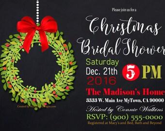 Christmas Bridal Shower Gold Party invitation / Printable PDF / JPG /  Print at Home