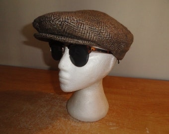 Men's Vintage Tweed Wool Blend Herringbone KENSINGTON By STETSON Cabbie Newsboy Cap Sz-Large