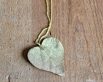 Real Gold Aspen Leaf Necklace FREE SHIPPING