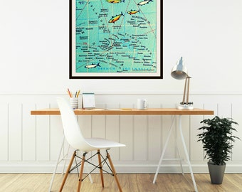 BORA BORA map art print | French Polynesia Tahiti Islands aqua color photograph map print 12x12 20x20 square photo honeymoon wedding gift
