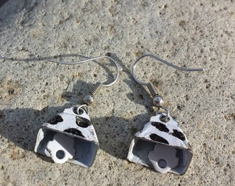 FALL SALE More CowBell Vintage CowPrint Earrings Bells CowGirl Cow Country Living