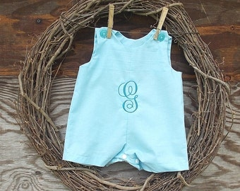 Baby Boys Jon Jon, Boys blue short all,  Boys Monogrammed Outfit, Baby Boy Clothing, Boys Easter Outfit
