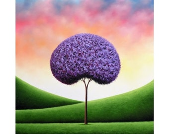 Print of Whimsical Tree Painting, Photo Print of Textured Purple Tree Art, Dreamscape Wall Art, Modern Art Poster, Beautiful Tree Picture
