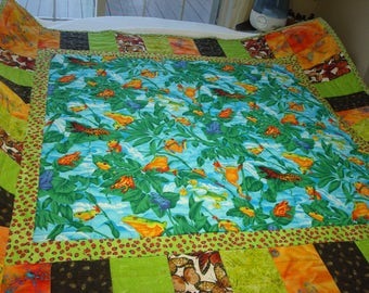 Frogs,Quilt for a Boy,Quilt for a Girl,Quilt for Sale,Handmade,Bugs,Play Quilt,Children's Room Decor,Bedding,Blanket Throw,Green,Blue,Orange