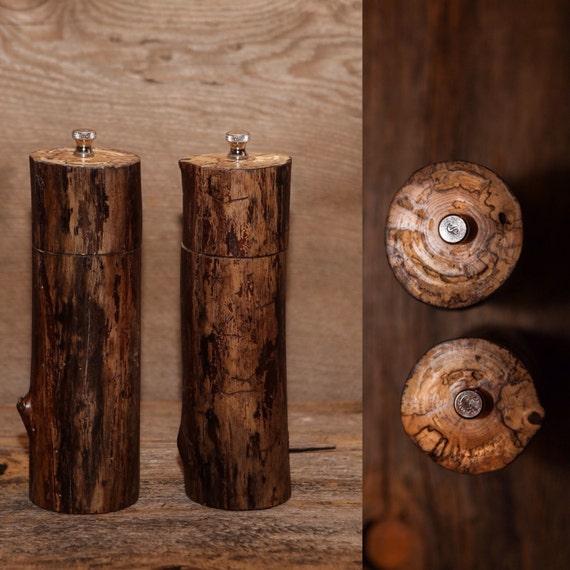 Handmade Pepper Mill and Salt Grinder Set  - Spalted Maple
