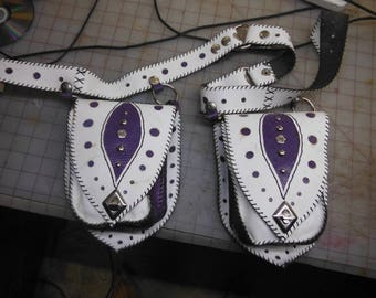 purple and white leather heap pocket belt