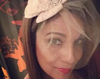 Fascinator. Handmade hair accessory. Blush fascinator. Wedding veil. Sugarplum Gallery.