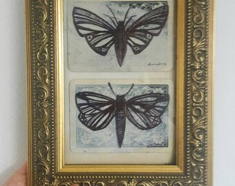 Original Framed Moth Artwork Drawing on Vintage Playing Cards and  Collage