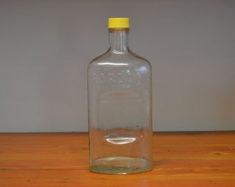 Clearance sale Vintage Gordon glass liquor bottle with yellow lid