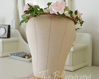 Pink rose crown / Ivy vine crown / Woodland crown / Angelic / Whimsical / Flower crown / Wedding hairpiece / Wedding crown / Wreaths