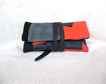 Leather Cases Cigarettes, Leather Cover Snuff,  Leather Red Black, Tobacco pouch Leather