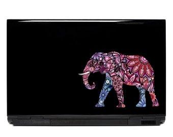 Elephant Ornate Vinyl Laptop or Automotive Art FREE SHIPPING decal laptop notebook art sticker ornate detailed colorful elephants walking