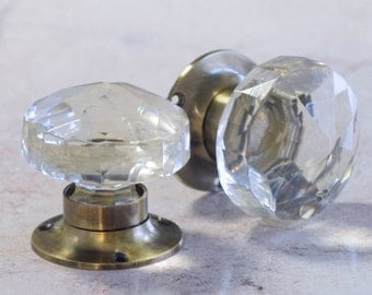 P104 - Glass Mortice Door Knobs with Antique Style Base