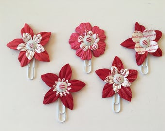 Planner Clips Red Flowers journal accessories planner accessories bookmark