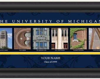 PERSONALIZED & FRAMED NCAA Michigan Wolverines Letter Art Sports Prints
