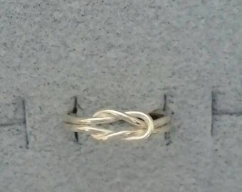 Lover's knot ring sterling silver wire ring reef knot silver ring band sterling rings