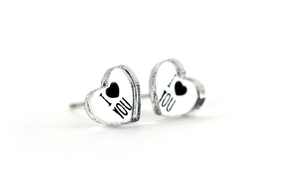 Valentine's hearts studs with message I love you - romantic graphic earrings - lasercut acrylic mirror - hypoallergenic surgical steel posts