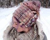 Pink boho headband Dreadlocks headband Dreadlocks wrap Gypsy headband Pink headband Ready to ship Pink hair wrap Festival hair