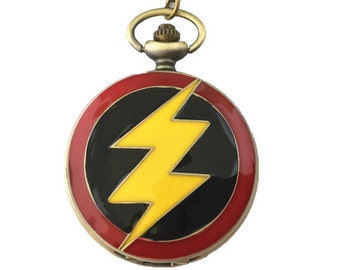 Flash inspired pocket watch necklace