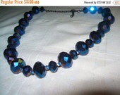 SALE 60% Off Pretty sparkly blue bead necklace