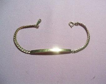 vintage ID bracelet, goldtone identification bracelet signed WW