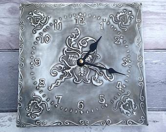 Paisley Pewter Clock