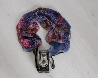 Scarf camera strap Camera scarf strap Blue camera strap Fabric camera strap DSRL camera strap Photographer accessories Camera accessories
