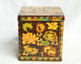 Vintage Daher tin...made in England…cloisonne style tin.