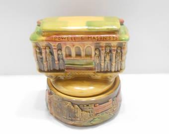 Vintage Glazed Ceramic Trolley Car Music Box--I Left My Heart in San Francisco