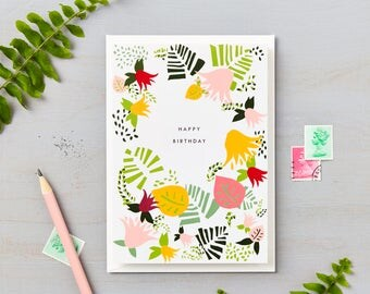 Tropical Abstract Happy Birthday Card Green
