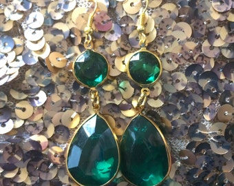 Emerald Green & Gold Teardrop Statement Earrings, green earrings, emerald earrings, bridesmaid earrings, green wedding, green jewelry