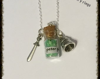 Peter Pan Bottle Charm Necklace