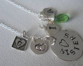 Reserved for Cathy 2 Sisters necklace in sterling silver, . Big sister, little sis, or big brother or little brother , BFF and Soul Sister