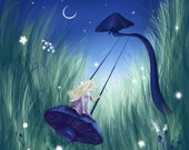 Fairy Delight -  Mounted or framed Print of a Fairy on a mushroom swing