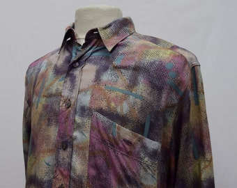 Paint Patterned 1990s Long Sleeved Shirt