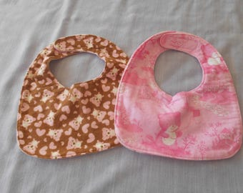 GIRLY BABY BIBS with bears and Velcro Fastner