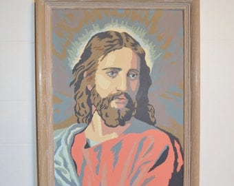 Jesus Paint by Number Portriat ~ Religious Painting ~ Kitsch Painting ~ Epsteam