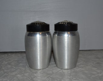 Kromex Salt Pepper  Shakers ~ Aluminum Shakers ~ Mid Century Kitchen ~ Epsteam